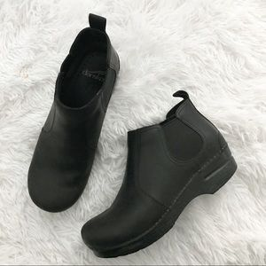 Dansko Frankie Black Oiled Slip On Ankle Bootie